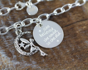 Graduation Gift, She Believed She Could Chain Link Charm Bracelet 925 Sterling Silver - Engraved Jewelry