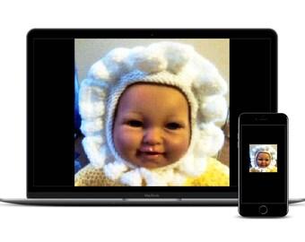 BABY BONNET KNITTING Pattern, Frilly Girls Bonnet, Pdf Instant Download, Hat Pattern, dk Knitting Pattern, bonnet patterns, newborn/24 month