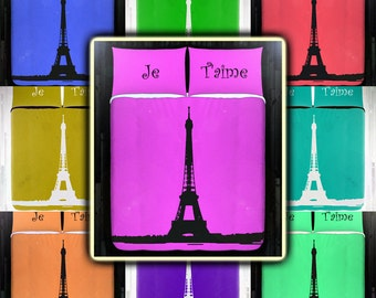 Eiffel Tower Paris Bedding Duvet Cover Queen Comforter King Twin XL Size Blanket Sheet Set Baby Crib Toddler Daybed Kids Bed