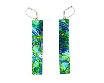 Blue-aqua and multi coloured long rectangular reversible earrings, steel reversible, hand painted on anodized aluminum,unique