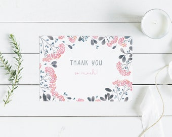 Pink and Grey Thank You Post Card // Thank you card - from the Serenity Collection matches with wedding and baby shower suites