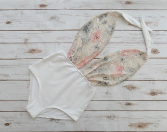 Swimsuit High Waisted Vintage Style - Sparkle White Pink Cream Floral Sequin One Piece Retro Pin-up Bathing Suit Swimwear - Honeymoon