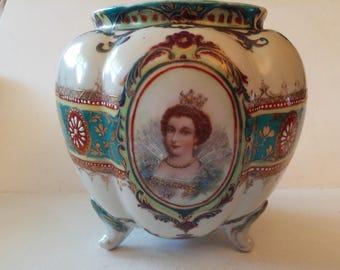 Victorian lady themed porcelain pot