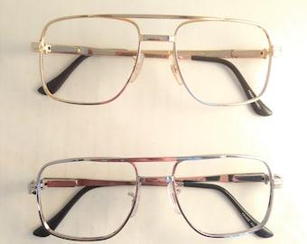 Mens Eyeglasses, Mens Gold Glasses, Mens Silver Glasses, Gold Metal Aviator Eyewear, Vintage 1980s Square Mens Frames, Double Bridge Glasses