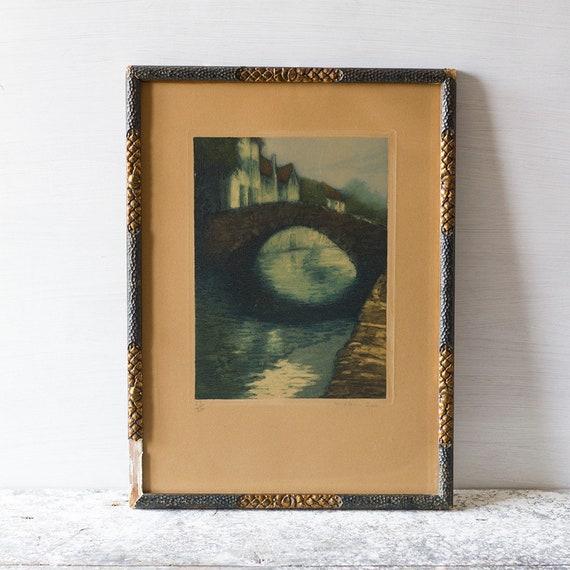 Belgian Moonlit Bridge Etching