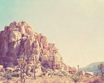 Joshua Tree photograph, Palm Springs, desert wall art, landscape photograph, California travel, photography, mountain, blue, neutral