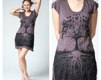 Tree of Life Short Sleeve Tunic Beach Yoga Preshrunk Cotton Dress, Five Colors, Different Sizes