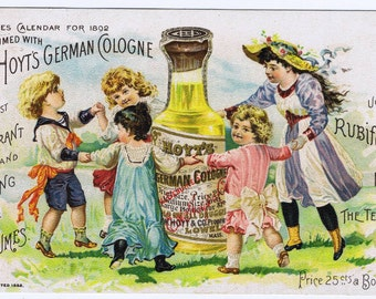 Antique Hoyt's German Cologne American Victorian Advertising Color Chromolithograph Tradecard 1902 Perfume Costumed Children