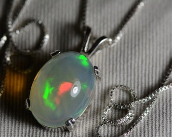 Opal Necklace, 8.13 Carat Solid Opal Pendant Appraised at 2,400.00, Sterling Silver, Green Orange Jelly Opal With Excellent Rolling Flash