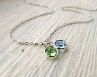 Mother Birthstone Necklace, Mom Jewelry, Mothers Jewelry, Couples Necklace, Newlywed Necklace, Family Birthstone, Mother's Day Gift