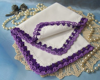 Ladies Handkerchief, Ladies Hankie, Ladies Hanky, Women's,  Lace, Hand Crochet, Purple, Lavender, Personalized, Embroidered, Ready to ship