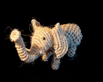 Macrame Elephant - first of its kind - handmade with hemp string