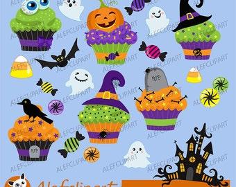 Halloween cupcake clipart  digital clip art.