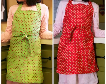 Apron Children  Toddler Boy Girl Red or Green Polka Dot