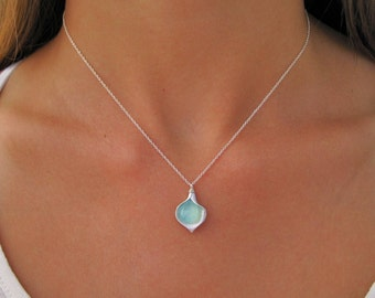 Silver Petal Necklace with Aqua Chalcedony Accents