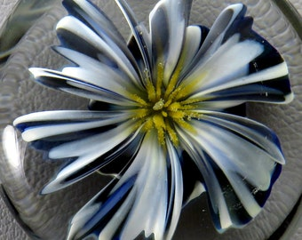 Beetlejuice style realistic black and white glass 3D flower pendant - handmade lampwork glass pendant