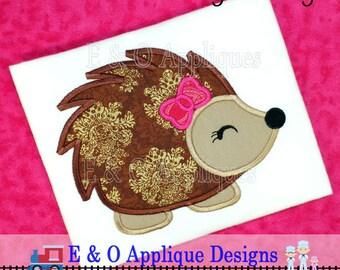 Hedgehog Girl Applique Design - Hedgehog Embroidery Design - Girl Hedgehog Embroider Design - Hedgehog Applique Design - Digital Design