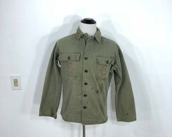 50's vintage milivary U.SwARMY herringbone twill field jacket