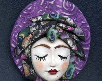 Caned hat face cab OOAK  Detailed Purple,  Blue , Abstract Polymer clay  ANPW 1