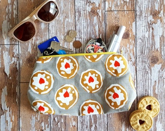 Hand Screenprinted Wash Bag - Jammie Dodgers Design (part of The Childhood Collection)