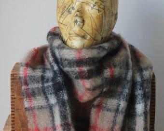 Scottish mohair wool scarf shawl camel brown black red white plaid tartan natural rustic Highland Industries Scottland