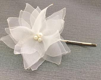 White Wedding Floral Hair Accessory, Bridal/ Bridesmaid Flower Hair Piece