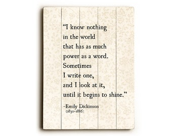 Wood Sign, Emily Dickinson Quote Wood Wall Art, Book Page Art, Wood Plank Wall Art, Literary Wood Sign, Book Lover Gift, Writers Quote