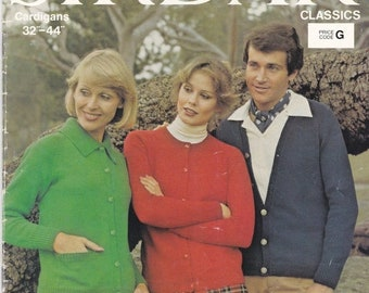 ON SALE On Sale - Sirdar Knitting Pattern No 9987 for Womens and Men Cardigans - Vintage 1970s