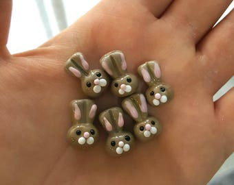 Bunny Lampwork Bead, Rabbit Bead, Handmade Lampwork Bead (2 pieces)