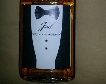 Personalized Grooms Labels -  Best Man Tux - Tuxedo Beer Labels