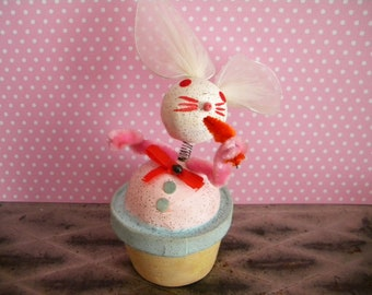 Vintage Easter Bunny Candy Container Bobble Head Rabbit with Carrot Japan Pink and Blue