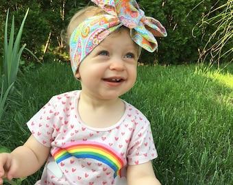 Paisley Headwrap- Headwrap; Paisley Head Wrap; Baby Head Wrap; Baby Headwrap; Head Wrap; Big Bow Headwrap; Girls Headwrap; Toddler Headwrap