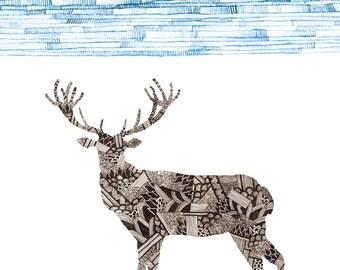 Deer Art Print 8x10
