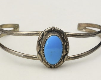 Vintage Sterling Silver and Turquoise Cuff Bracelet Southwestern Signed