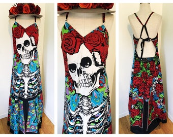 Grateful Dead, Grateful Dead dress, bertha dress, hippie dress, festival dress, boho dress, sun dress,