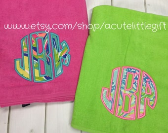 Lilly Pulitzer fabric Monogrammed beach towel