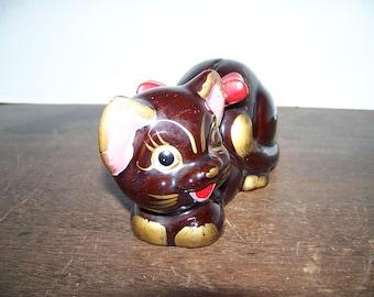 Vntg CAT BANK Fred Roberts San Francisco Japan Ceramic Cat Redware Bank Floral 1950s GEM!