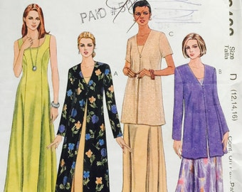 McCall's 9408, Size 12-14-16, Misses' Dress and Duster or Jacket Pattern, UNCUT, Tea Length Dress, Party Dress, Work Wear, Wedding, 1998