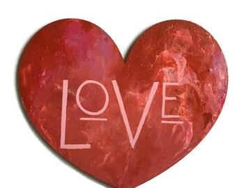 Valentine Love Sign, Wood Love Sign, Mid Century Art Love, Valentine Door Hanging, Love Wall Art, Valentine Day Decor, Heart Cut Out Sign