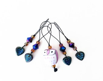 knitting stitch markers / pink owl woodland / gift / row counter tool / snag free stitchmarkers / popular knitter gift tool