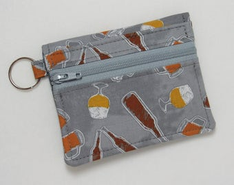 Bifold Keychain Wallet with Zipper Coin Pocket and Credit Card/Cash Pockets in Fun Beer Themed Fabric, Gray Background - One of a Kind!