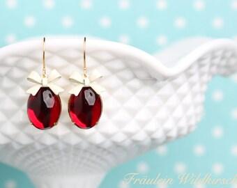 Raspberry Cream Vintage Bow Earrings Pink