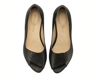 Black leather peep toes, Aya, comfortable dress shoes by Tamar Shalem