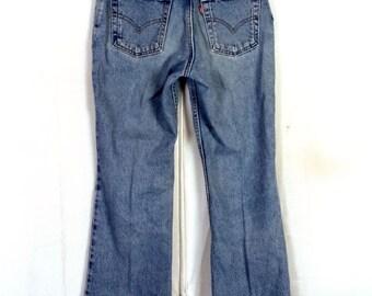 vtg 80s Levis 519 Low Rise Flare USA made Denim Jeans Bell Bottom sz 5 JR. M