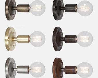 Bare Bulb Brass Wall Sconce Light - Flush Mount Wall Sconce Lighting - Hardwire or Plug In Wall Sconce - Bathroom Light - Kitchen Lighting