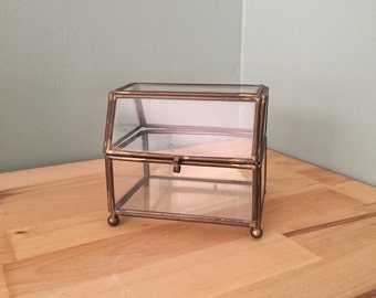 Brass and Glass Treasure Box- Terrarium- Jewelry Box
