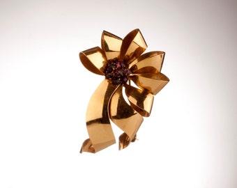 "Retro-Modern Gold-Filled and Violet Rhinestones Brooch, Signed ""J"" , 1940s/50s"
