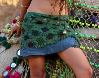 Crochet Handmade Earth Colours Skirt (Green) - Festival Clothing Midi Skirt Goa Gypsy Boho Hippie Fairy Nomadic Primite Doof Bohemian