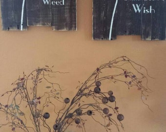 Pallet wood Dandelion Signs, Some see a weed, Some see a wish. Two signs, Distressed brown