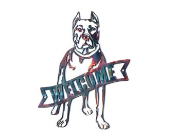 Bully Breed Welcome Sign with Cropped Ears - CAN BE CUSTOMIZED